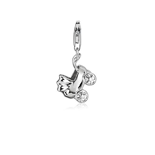 Baby Carriage Charm in Sterling Silver