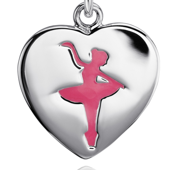 Dije en forma de corazón con bailarina en plata de ley