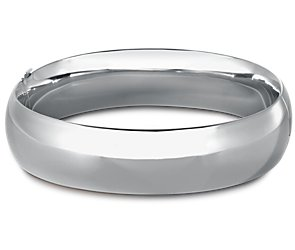 Wide Rounded Bangle Bracelet in Sterling Silver
