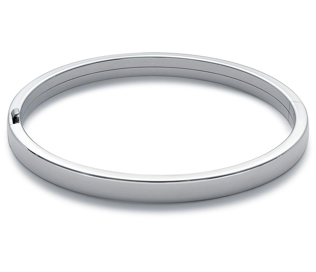 Flat Bangle Bracelet in Sterling Silver