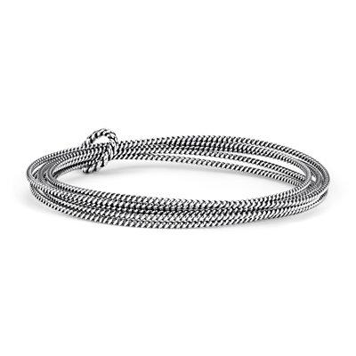 Roped Bangle Bracelets in Sterling Silver