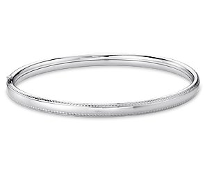 Beaded Bangle Bracelet in Sterling Silver