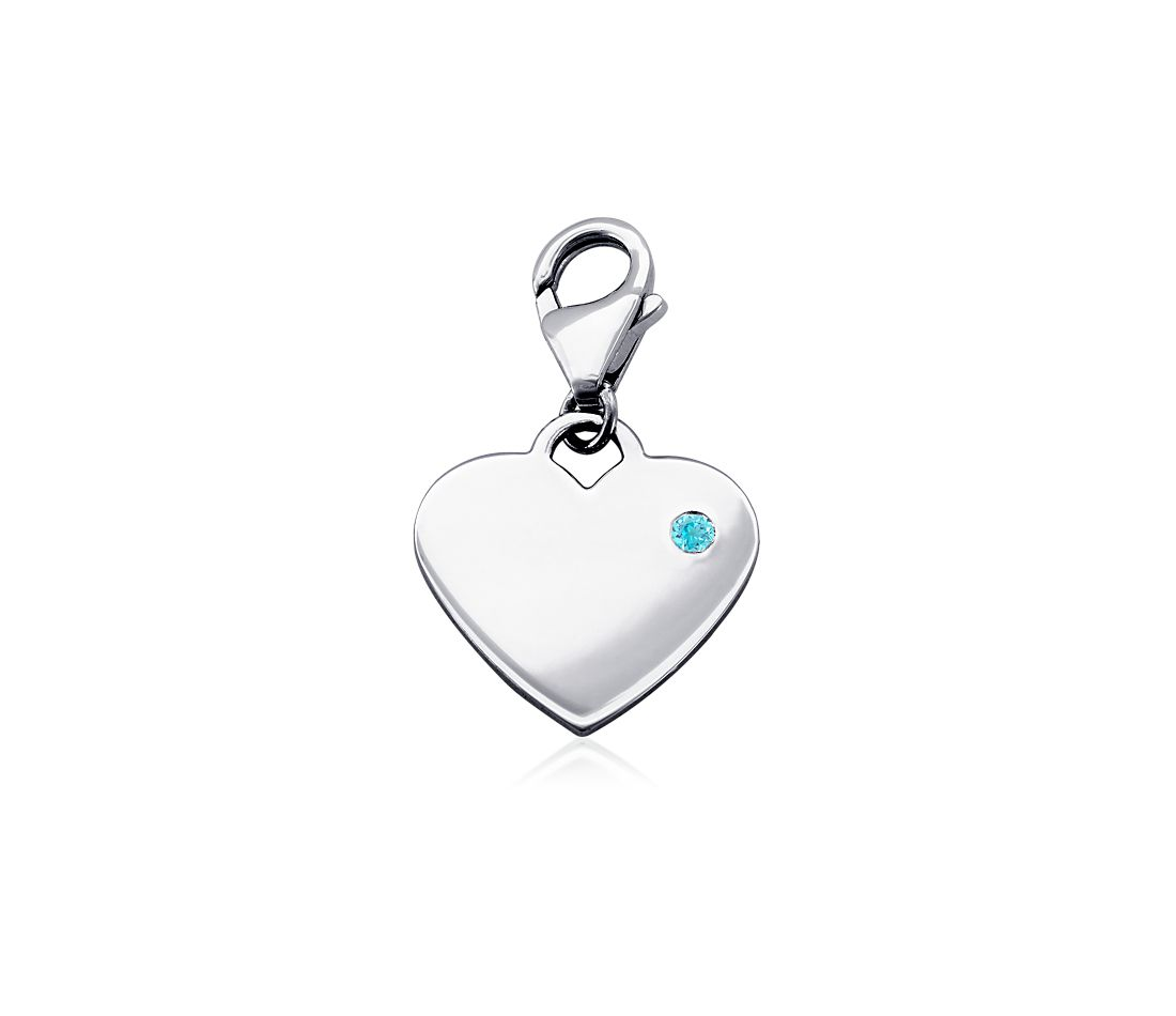 Blue Topaz Birthstone Heart Charm in Sterling Silver (December)