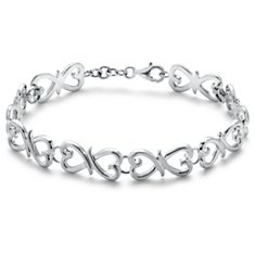 Intertwined Hearts Bracelet in Sterling Silver