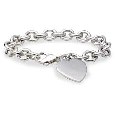 Bracelet médaille cœur en argent sterling
