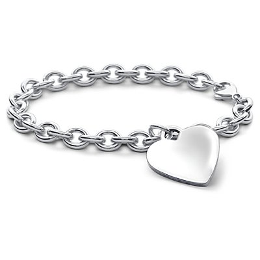 Brazalete con corazón para niños en plata de ley (16,5 cm)