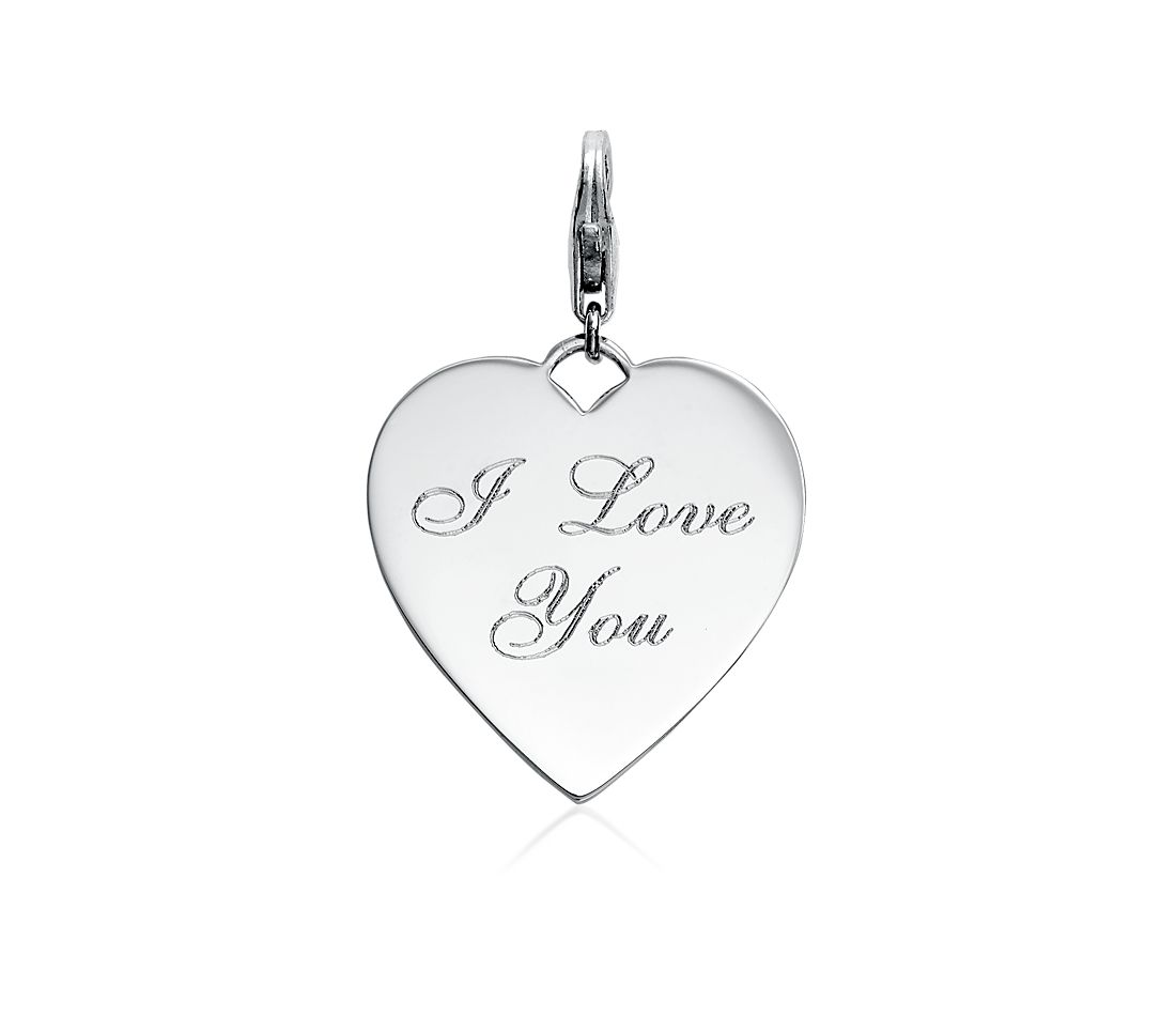 I Love You Heart Charm in Sterling Silver