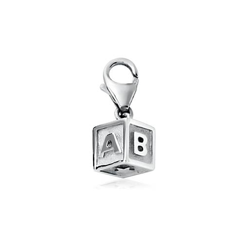 Baby Block Charm in Sterling Silver