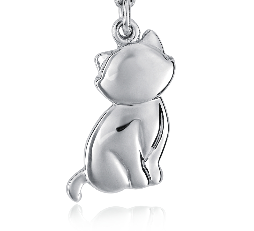 Breloque chat en argent sterling