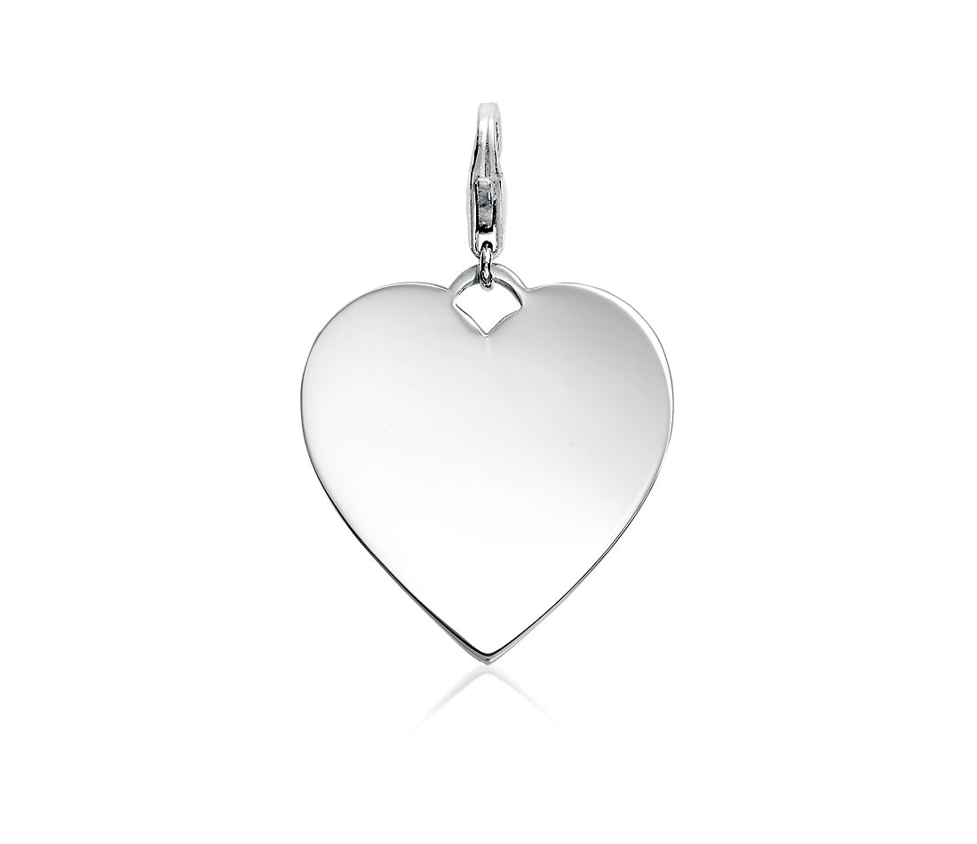Heart Tag Charm in Sterling Silver