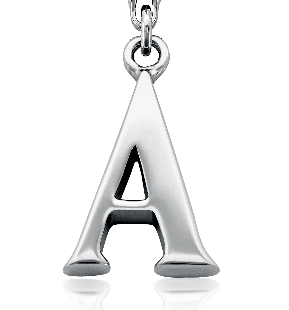 Letter A Charm in Sterling Silver