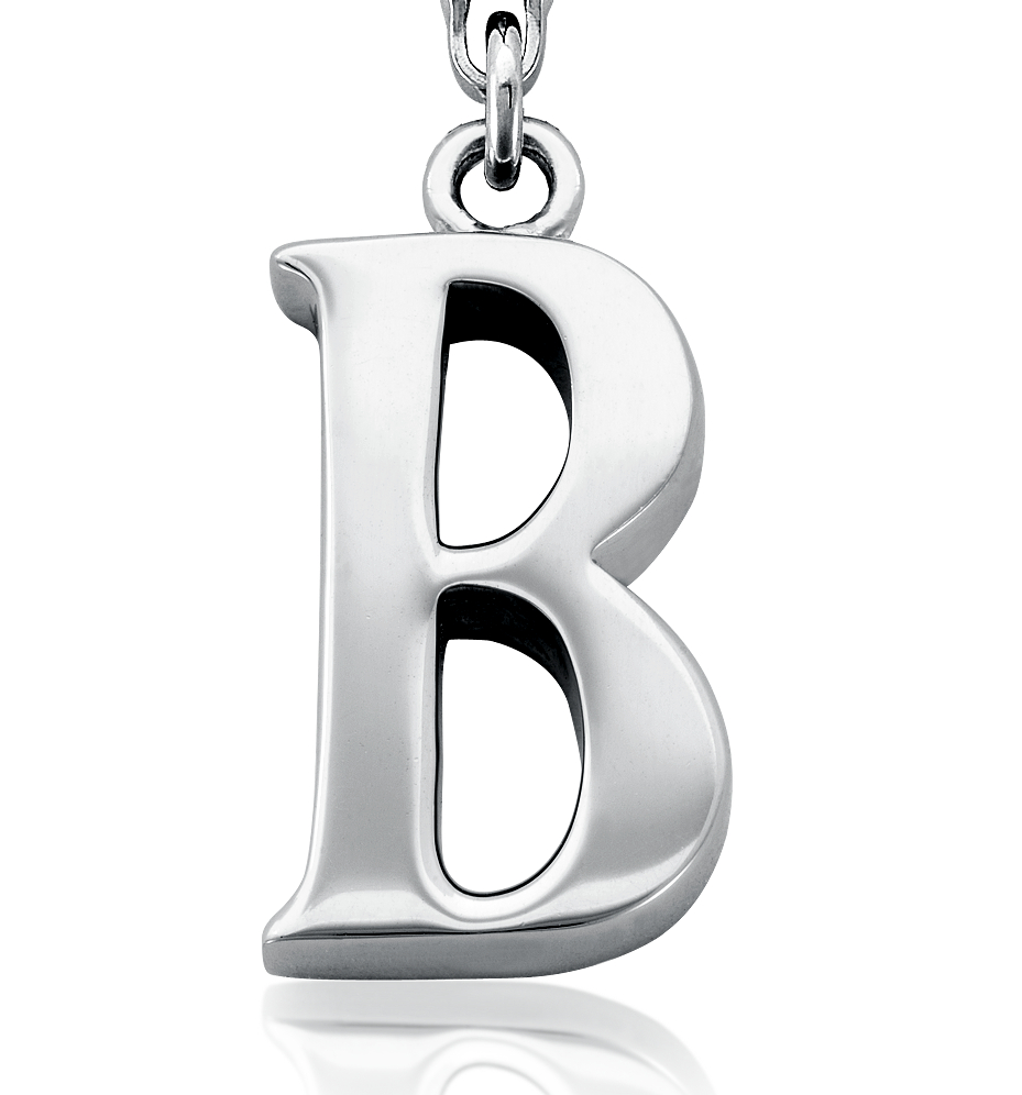 Letter B Charm in Sterling Silver