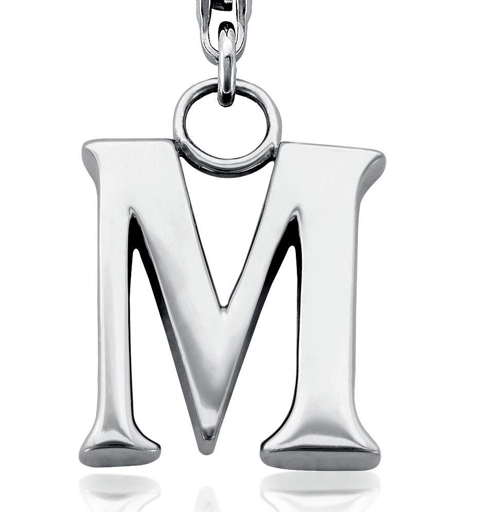 Letter M Charm in Sterling Silver
