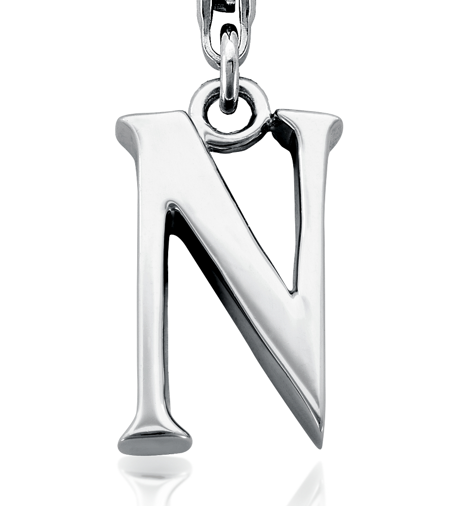 Letter N Charm in Sterling Silver