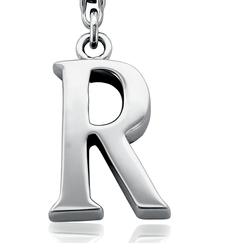 Letter R Charm in Sterling Silver