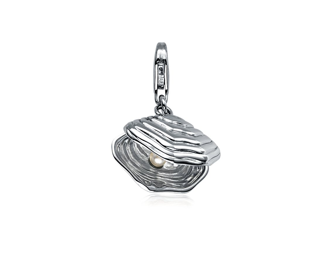 Pearl and Oyster Charm in Sterling Silver