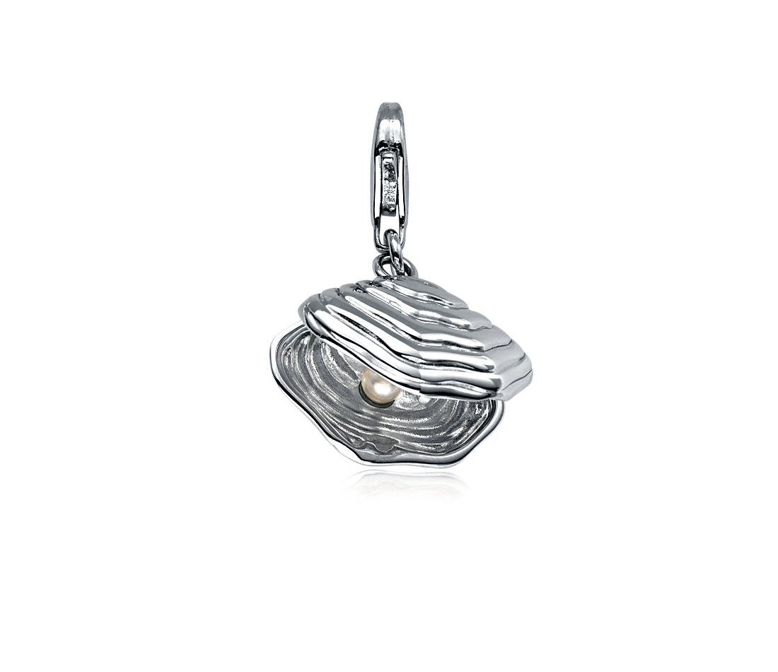 Breloque huître et perle en argent sterling