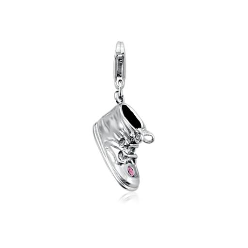 Engraveable Pink Sapphire Baby Shoe Charm in Sterling Silver