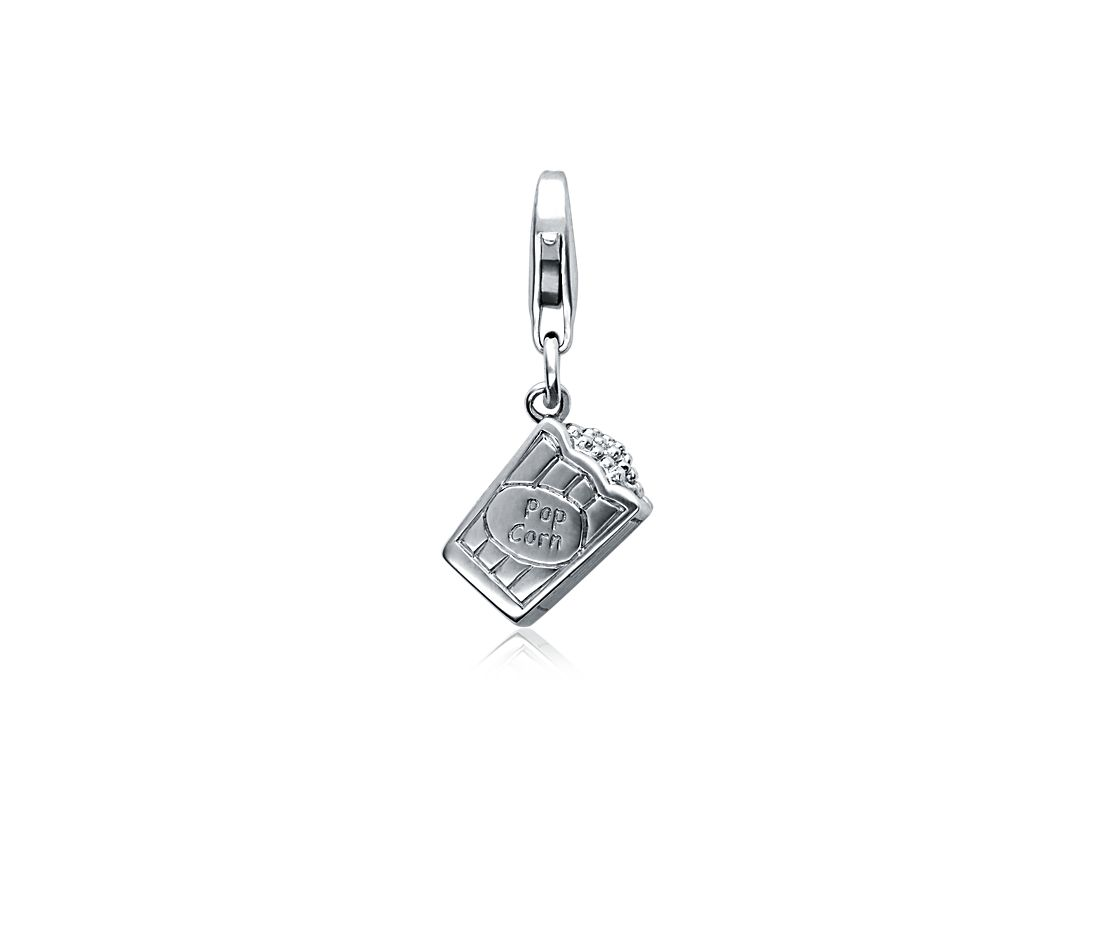 Movie Popcorn Charm in Sterling Silver