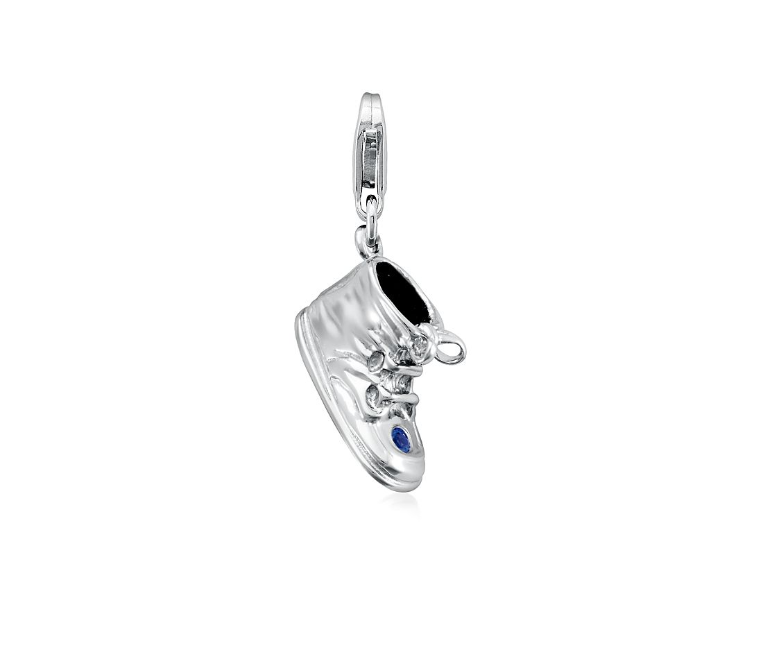 Sapphire Baby Shoe Charm in Sterling Silver