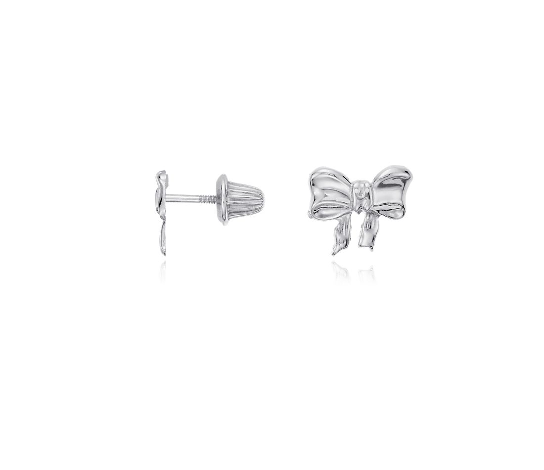 Children's Bow Earrings in Sterling Silver