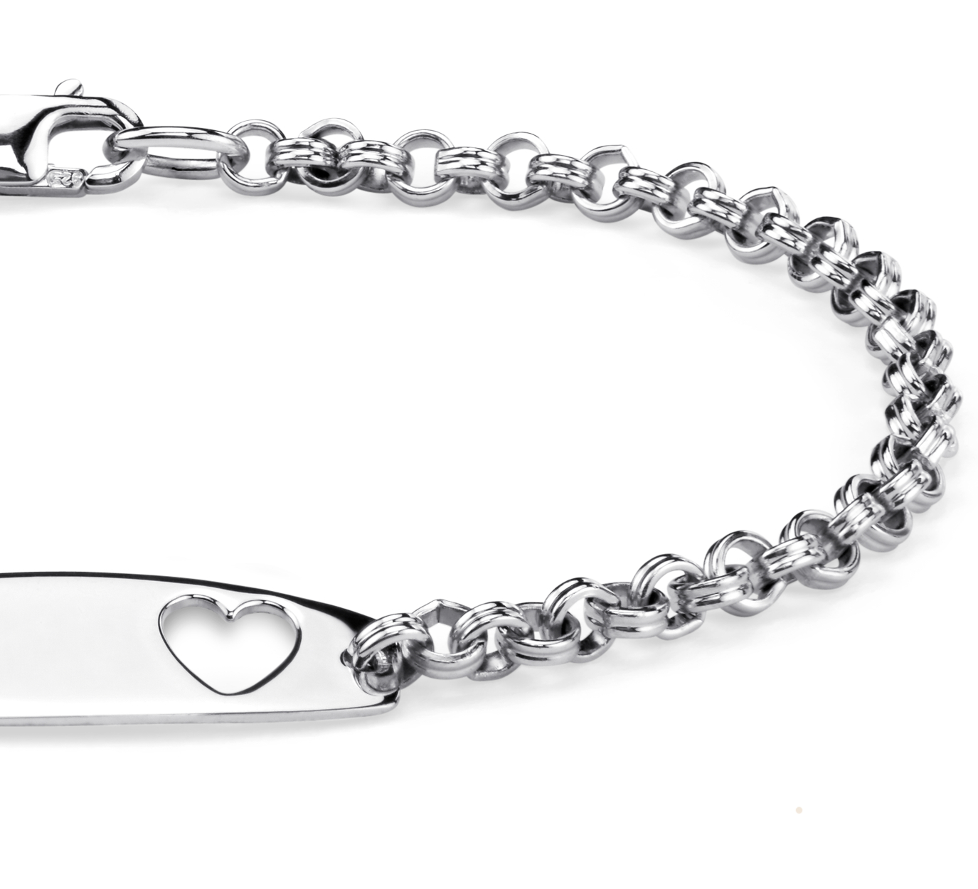 Children's Heart ID Bracelet in Sterling Silver