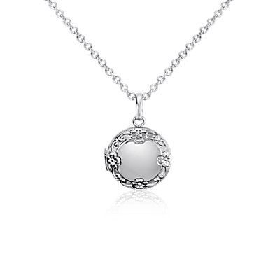 Children's Round Floral Locket Pendant in Sterling Silver