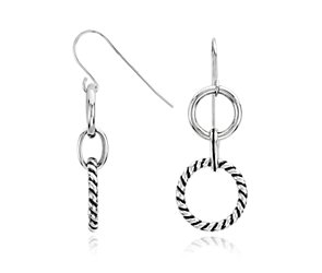 Circlet Drop Earrings in Sterling Silver