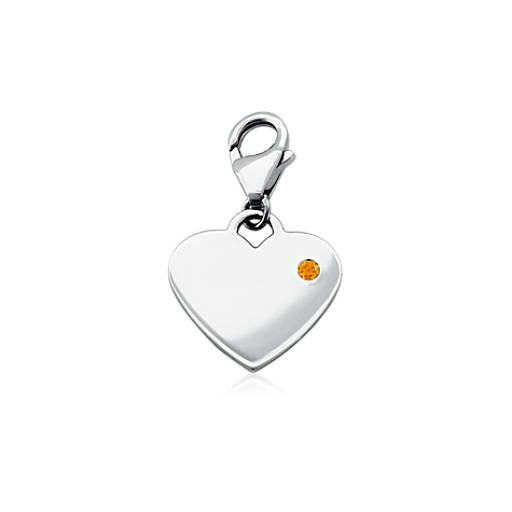 Citrine Birthstone Heart Charm in Sterling Silver (November)