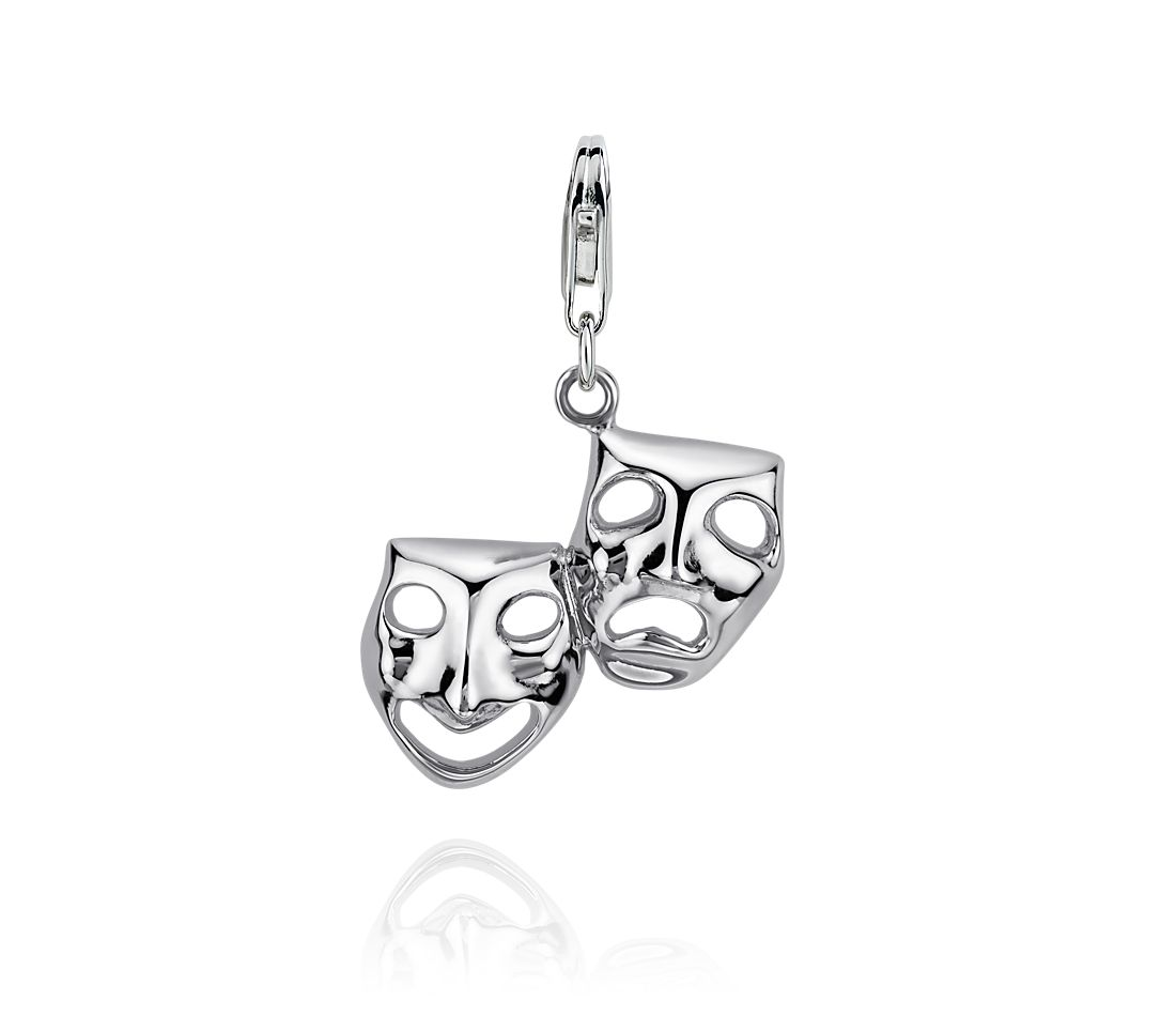 Comedy and Tragedy Charm in Sterling Silver