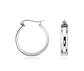 Concave Hoop Earrings in Sterling Silver (7/8