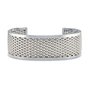 Wide Banded Mesh Cuff Bracelet in Sterling Silver