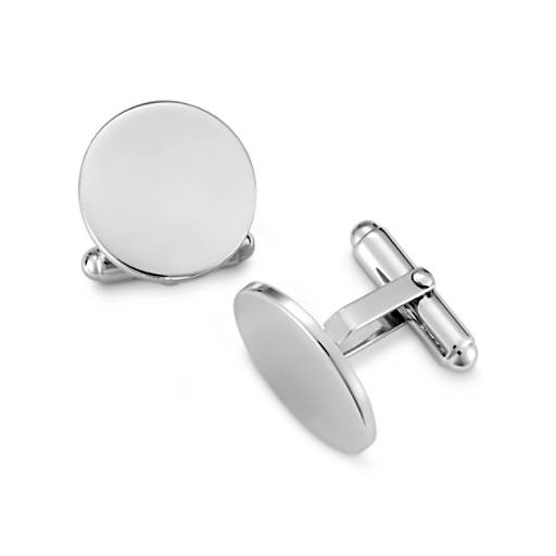 Round Cuff Links in Sterling Silver