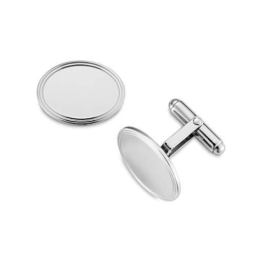 Framed Oval Cuff Links in Sterling Silver
