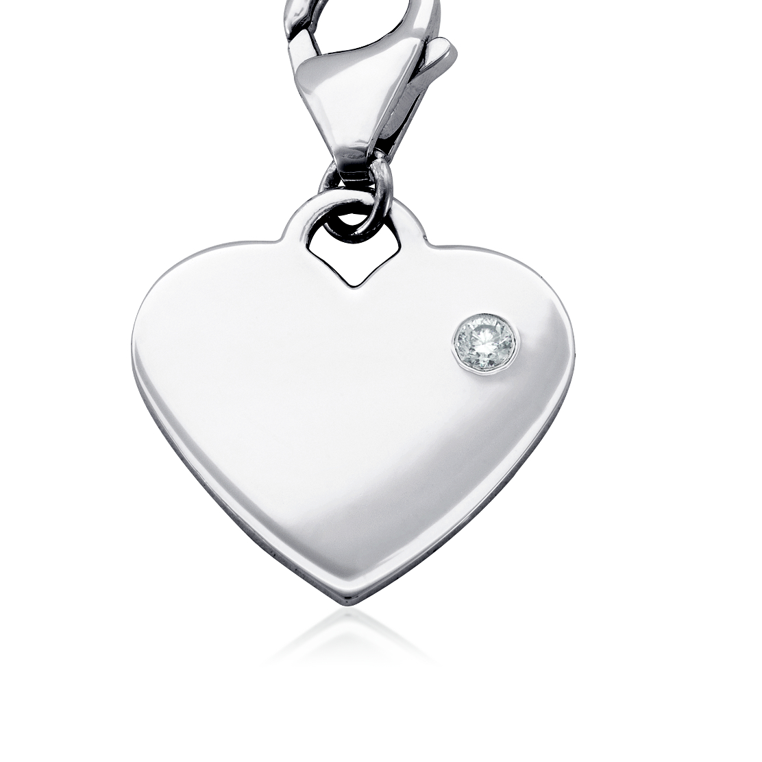 Diamond Birthstone Heart Charm in Sterling Silver (April)