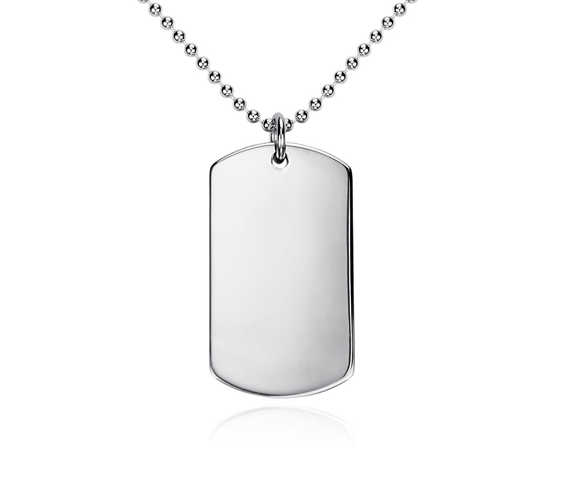 Men's Dog Tag Pendant in Sterling Silver