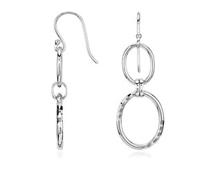 Double Link Dangle Earrings in Sterling Silver