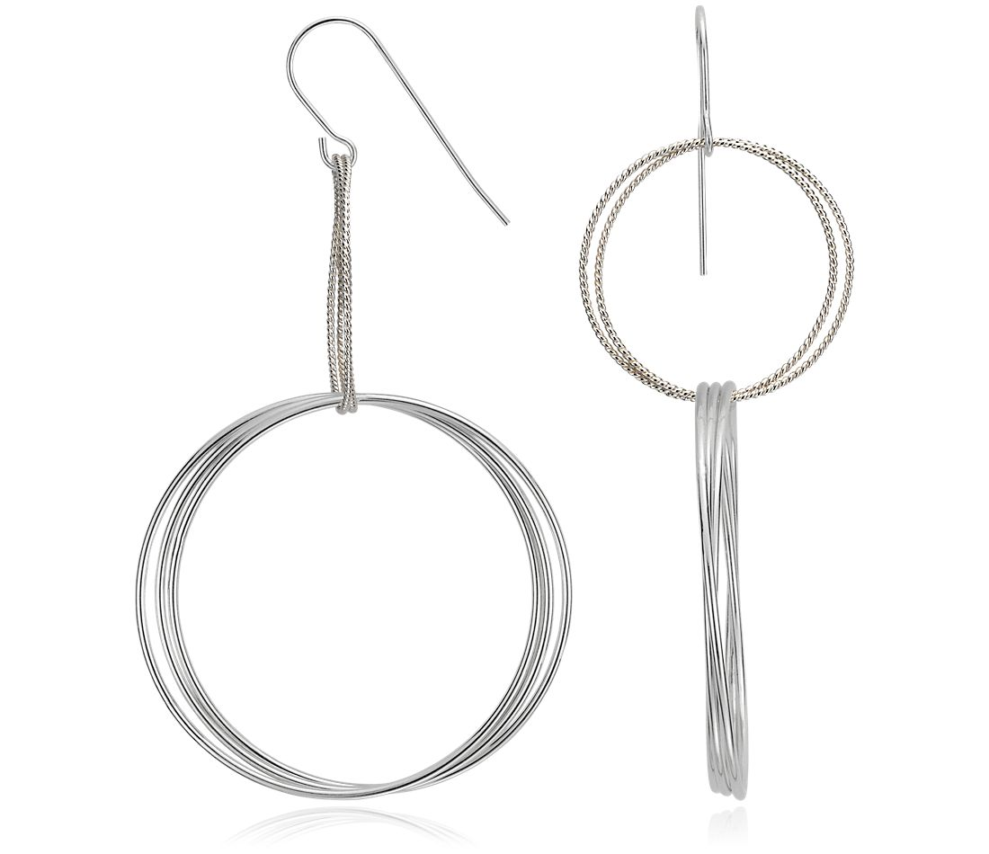 Grande Drop Hoop Earrings in Sterling Silver