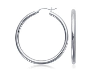 Hoop Earrings in Sterling Silver (1 1/2 inch)