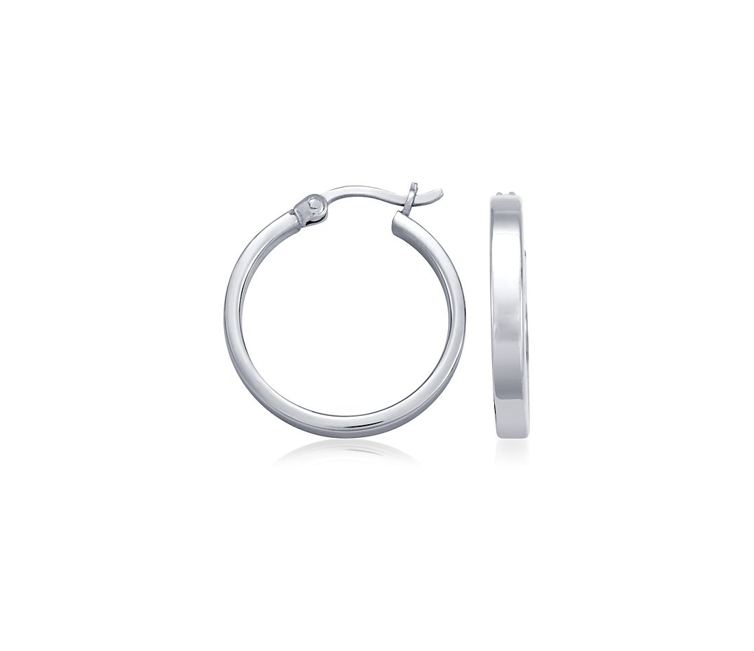 "Small Flat Hoop Earrings in Sterling Silver (13/16"")"