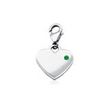 Emerald Birthstone Heart Charm in Sterling Silver (May)