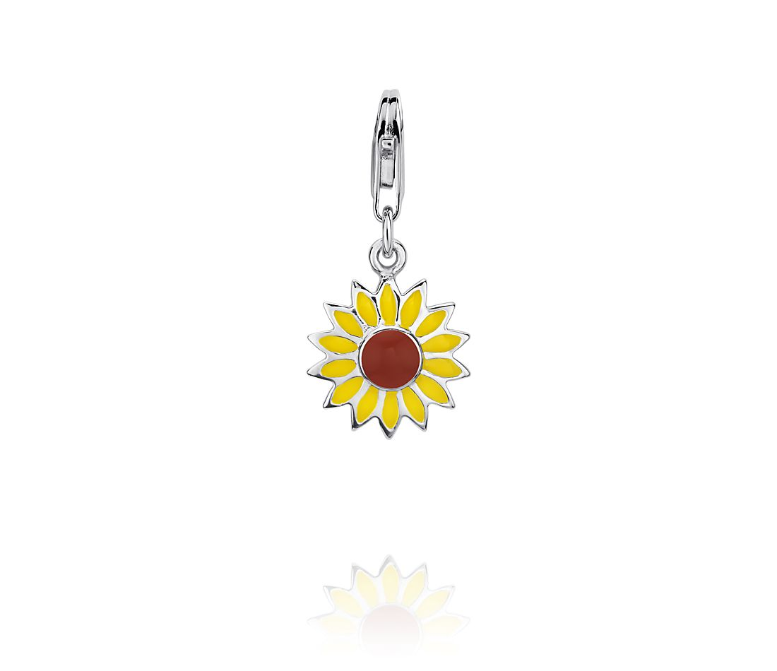 Breloque tournesol en argent sterling