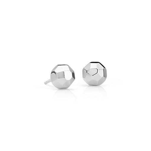 Faceted Half Moon Stud Earrings in Sterling Silver