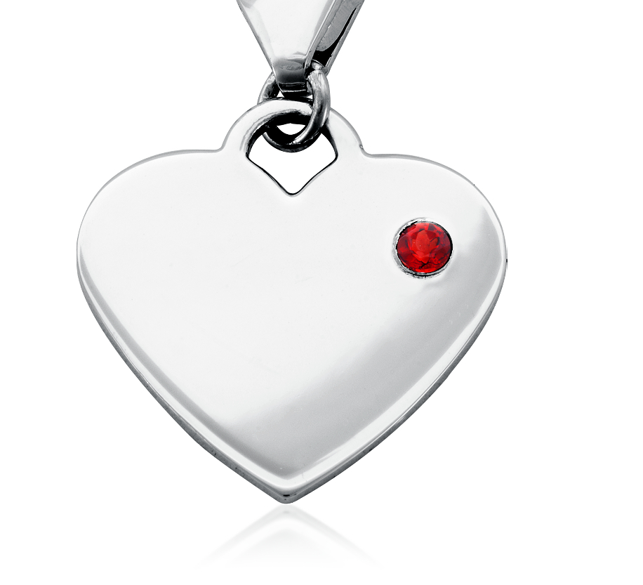 Garnet Birthstone Heart Charm in Sterling Silver (January)
