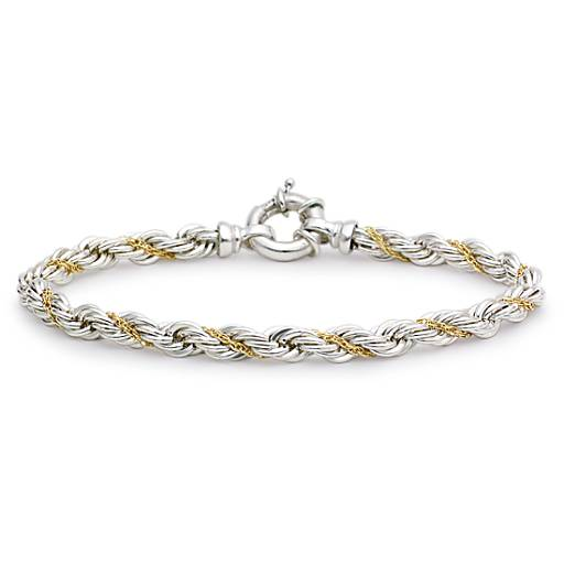 Rope Chain Bracelet in Sterling Silver and 18k Gold