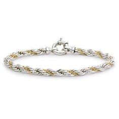 Bracelet chaîne corde en argent sterling et or 18carats