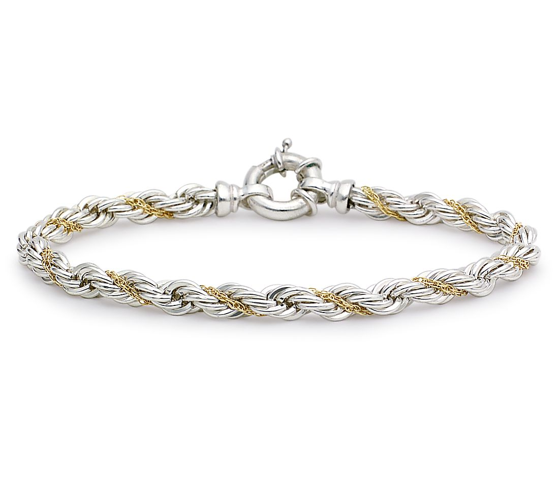 rope chain bracelet in sterling silver and 18k gold blue
