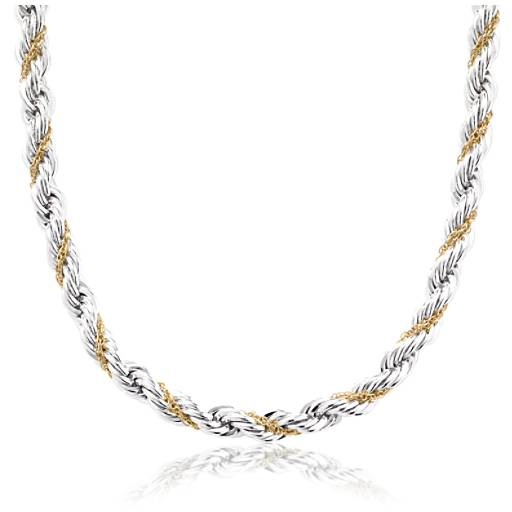 Rope Chain Necklace in Sterling Silver and 18k Gold