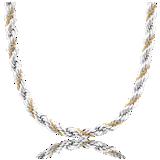 Collier chaîne corde en argent sterling et or jaune 18carats