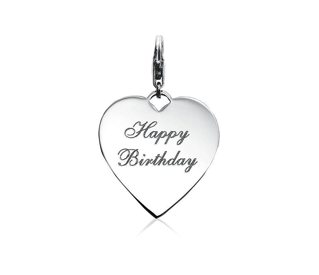 Engraveable Happy Birthday Heart Charm in Sterling Silver